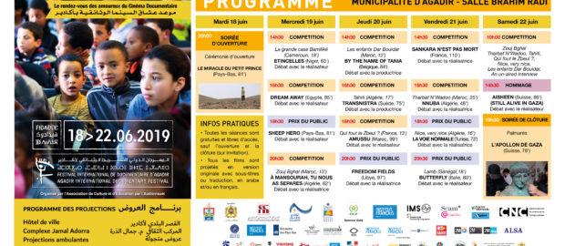 FIDADOC 2019 : Le programme des projections à la Municipalité d'Agadir / Français et Arabe